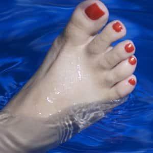 foot in a paraffin soak
