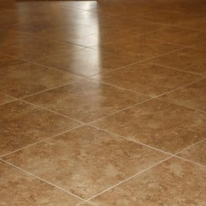 Freshly Tiled Floor With Clean Grout. Ceramic Tile