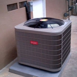 central air conditioning unit on slab