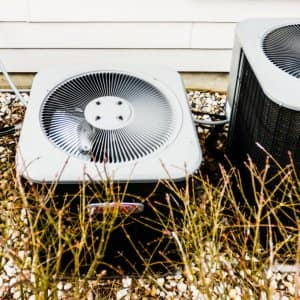 Outdoor A/C units in a yard