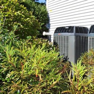 Inspect your air conditioning system's outdoor condenser unit and remove any objects or vegetation within 18 inches of the unit to ensure proper air circulation. (Photo courtesy of Angie's List member Andrew B. of Boston)