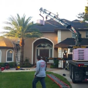 roofing contractors working on home
