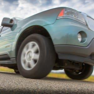 SUV on paved road
