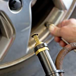 Tire guage checking air pressure in tire.