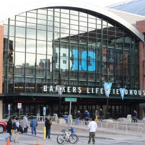 Outside of Bankers Life Fieldhouse in Indianapolis, Indiana