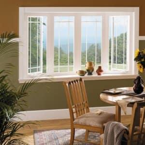 vinyl window, bay window, sunflowers, dining room