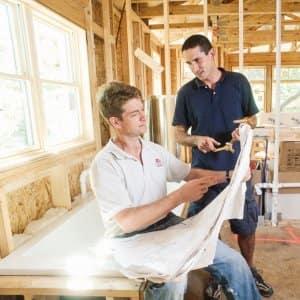 contractors, construction, blueprints