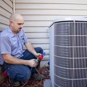HVAC worker outside