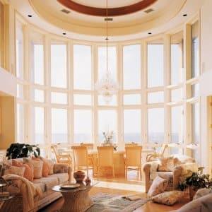 windows, chandelier, living room