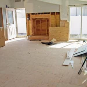 A room mid-construction