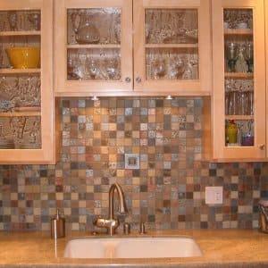 colorful stone tile backsplash