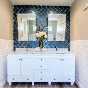 white shaker style bathroom cabinets in bathroom