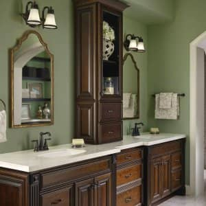 dark bathroom cabinets in bathroom