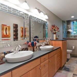Organized guest bathroom