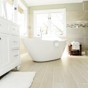 remodeled bathroom with soaking tub