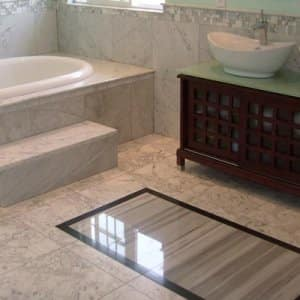 The most flooring effective choice for a bathroom is tile. (Photo courtesy of DirectBuy of Indianapolis)