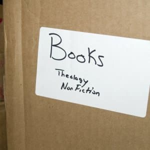 labeled moving box of books