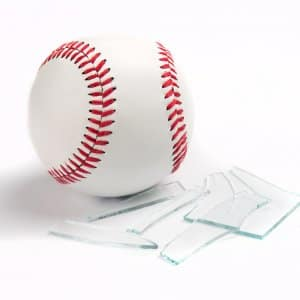 baseball with broken glass