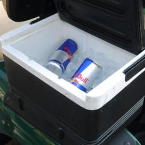 Red bull cans in black cooler (Photo by Steve C. Mitchell)