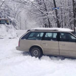 Extricating your car in snowy or icy conditions can sometimes prove tricky. (Photo courtesy of Angie's List member Deborah S. of Laconia, N.H.)
