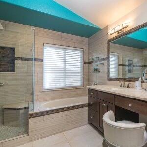 bathroom with a teal ceiling