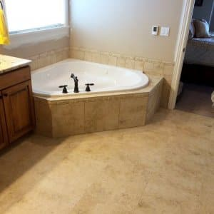 Bathroom with radiant floor heating