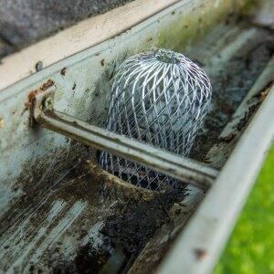 An aluminum gutter mesh downspout strainer