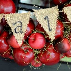 apple wreath with fall banner