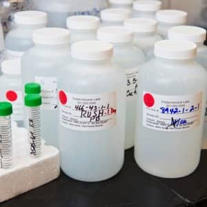 Samples of water to be tested at Fredericktowne Labs in their Myersville, Maryland, location. (Photo by Bill Green)