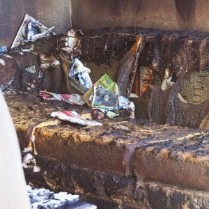 Bruned out couch from a house fire