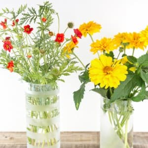 etched vases with flowers