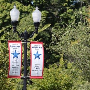 Banners line the streets of Lawrence with names of active-duty soldiers. (Photo by Steve C. Mitchell)