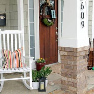 porch decorated for spring