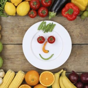 fruits and vegetables arranged on table