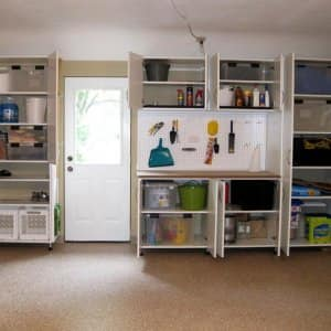 A Garage With Cabinets And Wall Storage. Organization ...