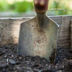 gardening spade in soil