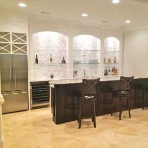 remodeled bar with delicatus granite countertops