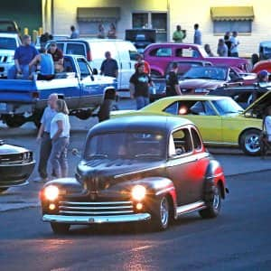 Classic cars in downtown Greenwood, Indiana