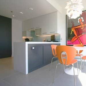Superior Kitchen Peninsula With Dark Gray Cabinets