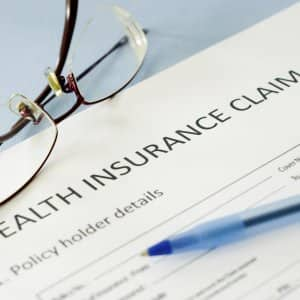 Health insurance claim paperwork