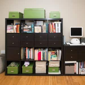 organized shelves with computer
