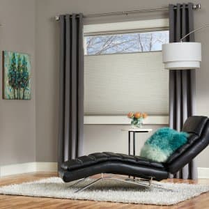 sitting room with honeycomb shades
