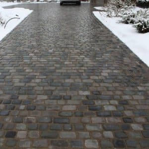 Pavers allow easy access to problem areas if something goes wrong with a heated driveway system. (Photo courtesy of Angie's List member Jannet D. of Carmel, Ind.)
