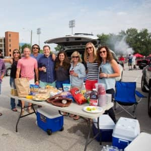 Tailgate parties can include a fancy feast or just the basics.  (Photo by Eldon Lindsay)