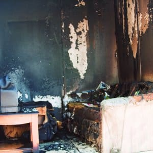 fire damaged living room (Photo by Brandon Smith)