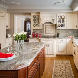 kitchen with island and cabinets