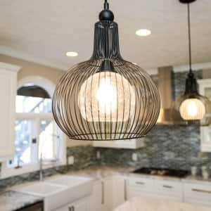 Hanging pendant lights with cage in kitchen