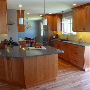 redesigned kitchen with island cabinets