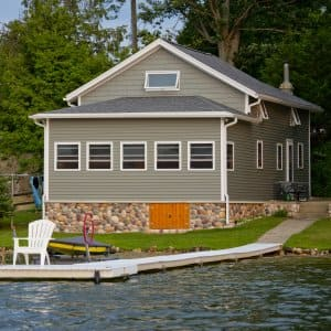 lake house with dock (Photo by Eldon Lindsay)