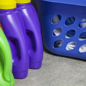 laundry basket and laundry detergent